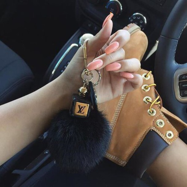 Shoes Boots Timberlands Louis Vuitton Fur Keychain