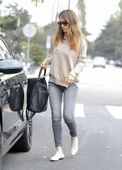 jeans,jessica alba,sweater,shoes,bag,sunglasses