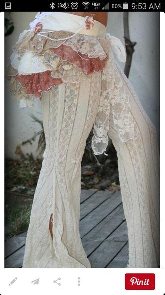 pants white lace pants boho ruffle bottom