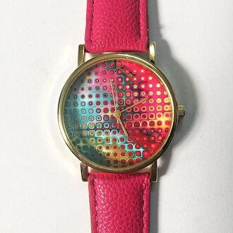 jewels neon galaxy watch handmade etsy fashion style pink fuschia freeforme watch watches handmade