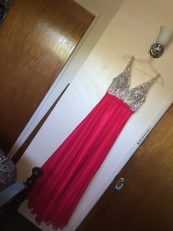 Shop Chiffon V neck Watermelon Prom Dress NZ Online - Shopindress.co