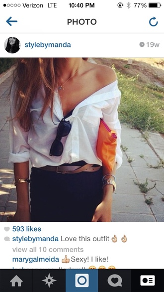 jeans brown belt white button up black high waisted pants