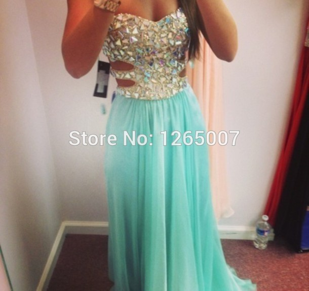 Aliexpress.com : Buy New Arrival Sweetheart Heavy Beaded Diamond Crystal Top A Line Chiffon Slit Prom Dresses New Fashion Gowns from Reliable crystal glaze paint protection suppliers on SFBridal