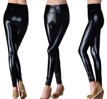 Amazon.com: bloom's outlet womens polyurethane leather high waist leggings tight pant lg27: clothing