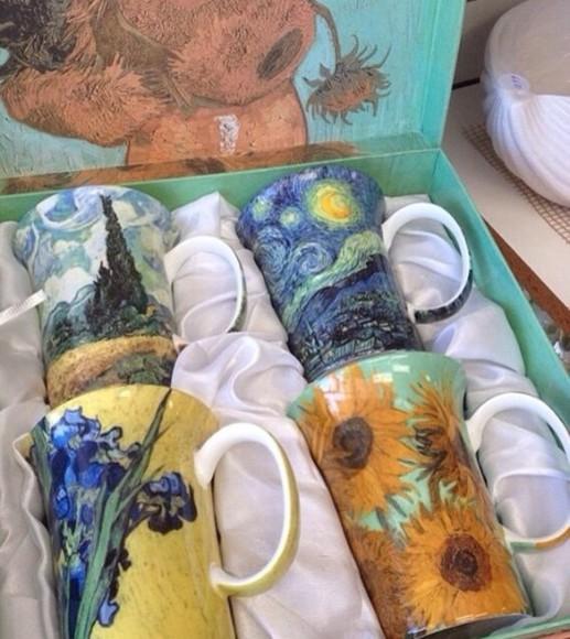 sunflower phone case Art painting paintings starry night mug food van gogh