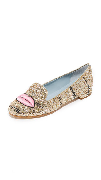glitter lips flats gold shoes