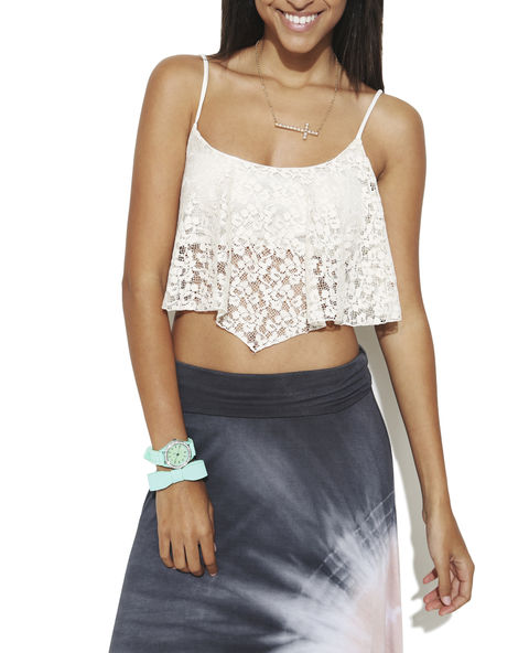 Flutter Lace Crop Top - WetSeal