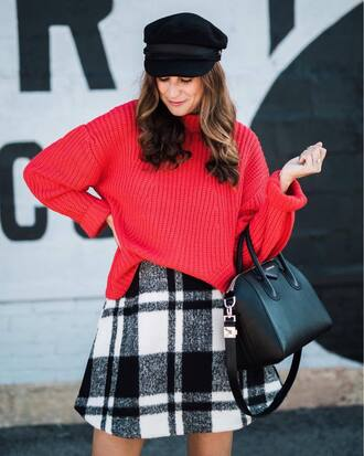 sweater hat plaid skirt tumblr red sweater fisherman cap skirt mini skirt bag black bag