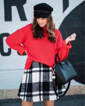 sweater hat plaid skirt tumblr red sweater fisherman cap skirt mini skirt bag black bag