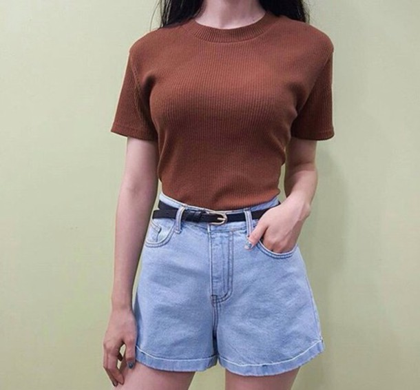 Shorts Denim Summer Spring Vintage 90s Style High Waisted
