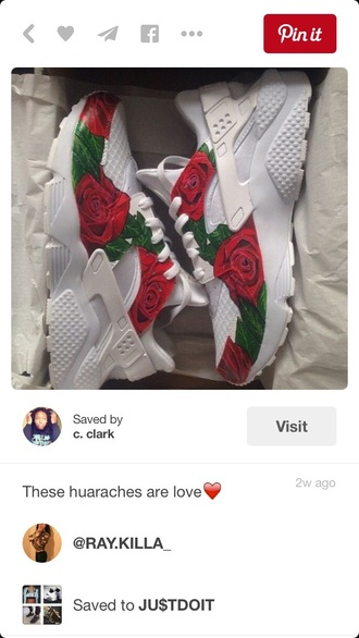 shoes nike dope fashion trendy rose huarache custom nike running shoes nike shoes hurarches white nike huraches roses red white green sneakers nike sneakers dope wishlist dope shit like cute sexy nike air huaraches