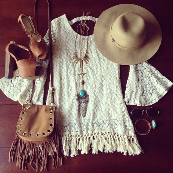 floppy hat dress jewels lace dress white dress floral lace dress jewelry fringe bag jessica simpson bleu blouse chicwish crochet fringe top crochet top summer top crochet crop top white summer beach sea beautiful mini dress long sleeves bag shoes sunglasses