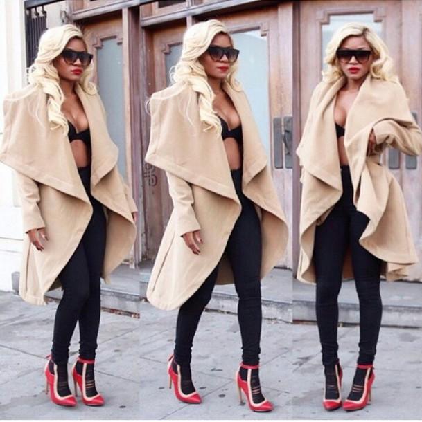 cardigan coat shoes classy office outfits beige cream winter coat stylish fashion warm chic rose wholesale vintage