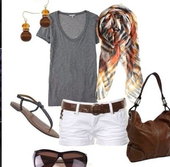 earrings shoes scarf shorts white grey t-shirt cut off shorts