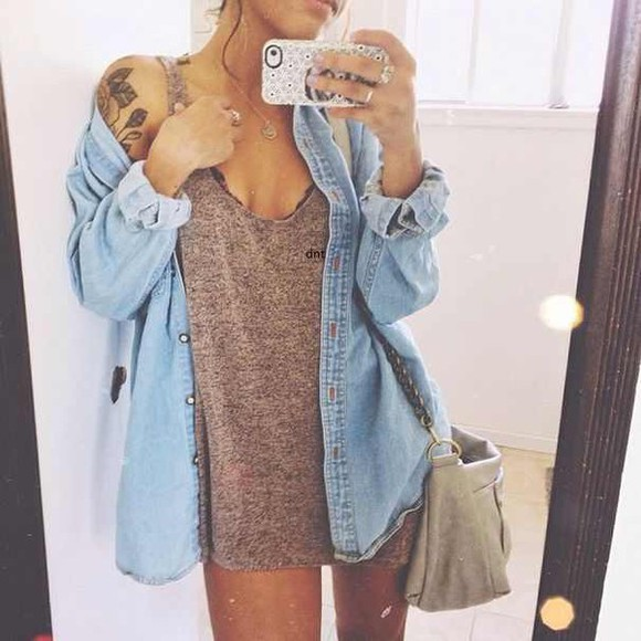 bra denim shirt short button up denim bag necklace ring jewels