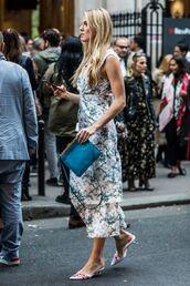 dress,shoes,floral dress,mules,bag,blue bag,floral,summer dress