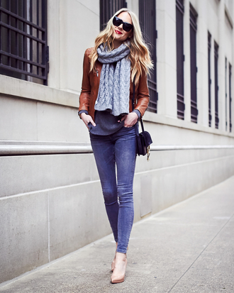 fashionjackson blogger jacket sweater jeans scarf shoes bag make-up brown jacket shoulder bag nude heels high heel pumps skinny jeans