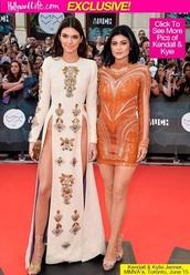 kylie jenner,orange dress,kendall jenner,white dress,slit dress,mini dress,embroidered,dress
