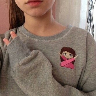 sweater clothes clothing sweater/sweatshirt sweatshirt emoji print pink grey sweater grey gray girl peace oversized sweater oversized brown beige fingers