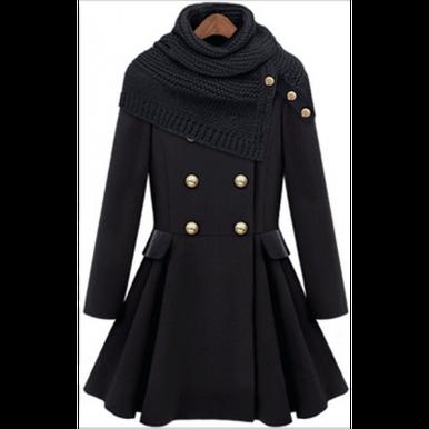 Black Wool Coat Turn Down  - Mint & Pink