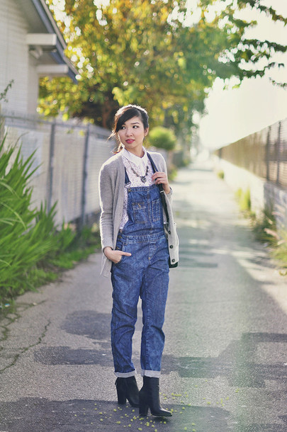 fresh fizzle blogger cardigan denim overalls