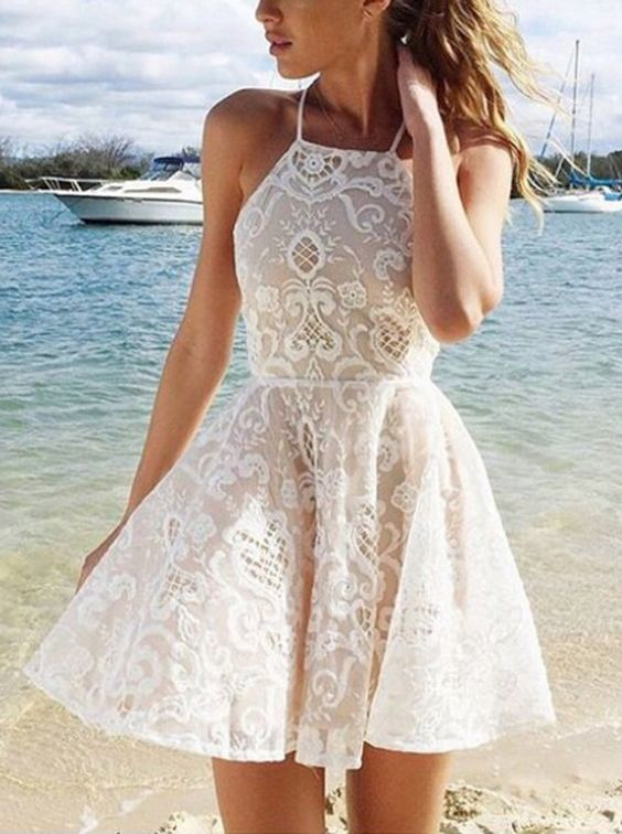A-line Halter Short White Criss-Cross Straps Lace Homecoming Dress With Pleats on Luulla - comlydress Sale Online