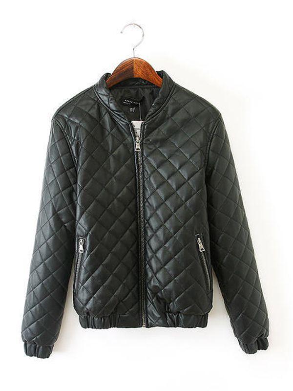 Black high neck zip patchwork coat : kisschic.com