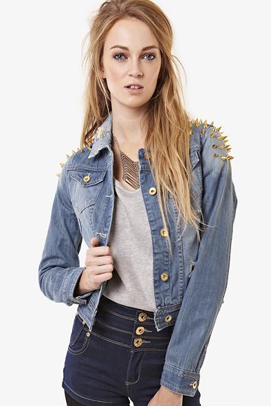 Denim studded denim jacket at fashion union