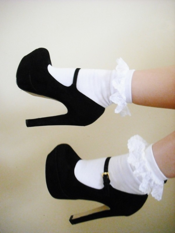 underwear cotton frilly white socks cute pretty lace ankle socks shoes