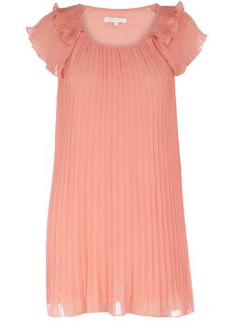 Peach pleat frill dress