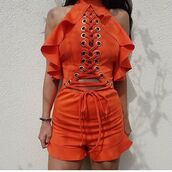 romper,maries boutique,orange playsuit,jumpsuit,metal ring,lace up,holidays,party,clubwear,summer,fall outfits,winter outfits,ootd,shoes,heels,trainers,sandals,glitter,sequins