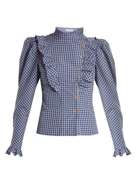 blouse high ruffle gingham white blue top