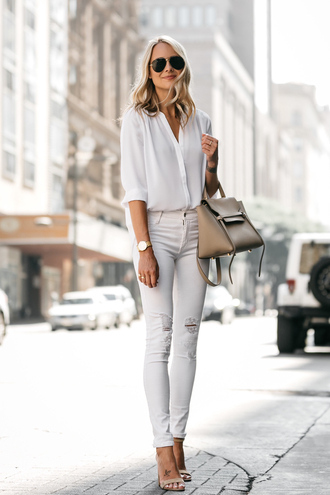 fashionjackson blogger top jeans shoes bag sunglasses jewels white shirt handbag white jeans sandals high heel sandals