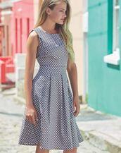 dress,blue,races,pretty,pokadots,black dress