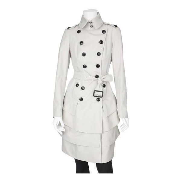Tiered hem trench coat