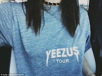 shirt top grey yeezus tour tour merch yeezus tour grey shirt kendall and kylie jenner keeping up with the kardashians merchandise merch