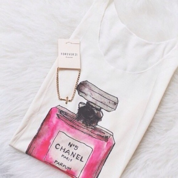 t-shirt chanel chanel t-shirt pink shirts parfüm pink shirt shirt white, tank top, chanel perfume bottle chanel, perfume, t-shirt, top, pink, white