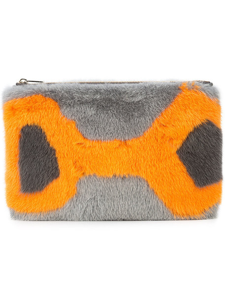 Valextra fur fox women clutch leather grey bag