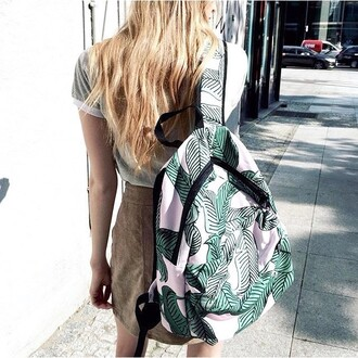 home accessory yeah bunny backpack leaves cute pastel palm leaf pattern