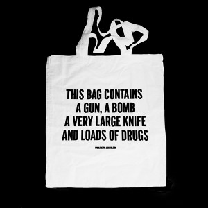 TREVOR JACKSON TOTE BAG - THIS BAG CONTAINS A GUN, A BOMB, A VERY LARGE KNIFE AND LOADS OF DRUGS (WHITE) - RECORD BAG - Above Board Distribution ($1-20) - Svpply
