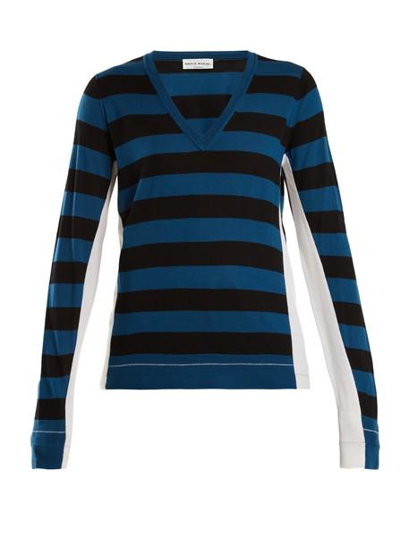 Sonia Rykiel sweater wool knit blue black