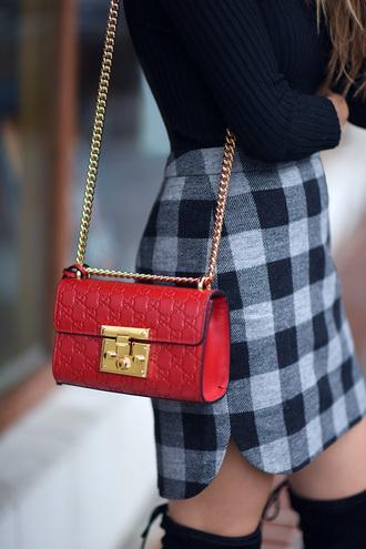 skirt tumblr mini skirt checkered asymmetrical asymmetrical skirt bag red bag chain bag top ribbed top black top