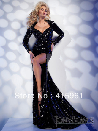 dress sequin prom prom dress black v neck backless slit sexy tony bowls