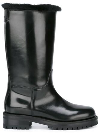 biker boots fur women boots leather black shoes