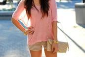 shorts,shirt,bag,bracelets,necklace,blouse,pink,pink blouse,girly,pretty,pinkey,top