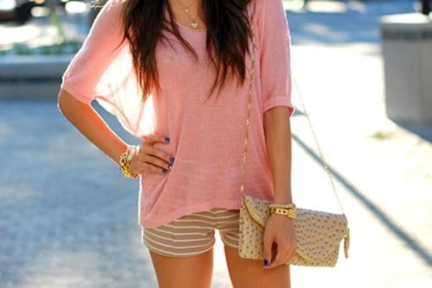 shorts shirt bag bracelets necklace blouse pink pink blouse girly pretty pinkey top