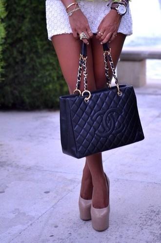 bag chanel handbag fashion handbags black quilted bag skirt shoes nude pumps high heels