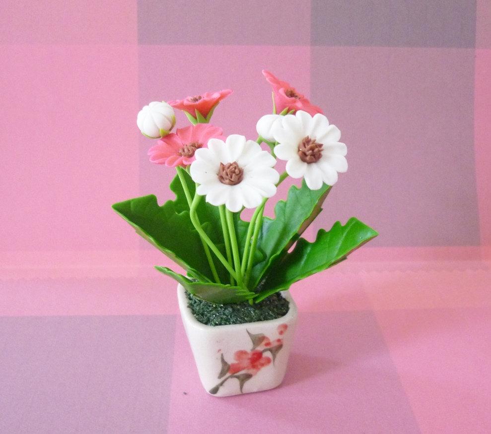 Daisy Flower Pot Artificial Flower H95 Cm Pink Blue Daisy