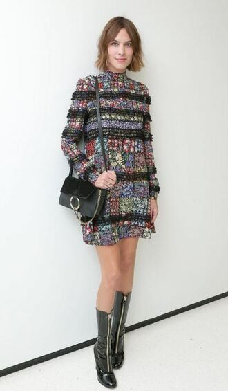 dress purse alexa chung boots mini dress fall outfits bag patent shoes embellished dress chloe faye bag black bag shoulder bag printed dress short dress black boots long sleeve dress fall dress patent boots