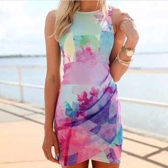 dress rainbow pastels and brights abstract design bodycon dress colorful dress tie dye